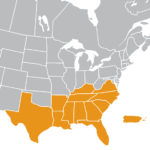 UPCEA South Region Map | Texas, Louisiana, Arkansas, Georgia, Alabama, Mississippi, Florida, Puerto Rico, South Carolina, North Carolina, Kentucky, Tennessee, Virginia